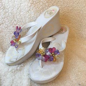 Colorful floral flip flop wedge